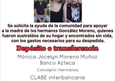 Recibirán apoyo familiares de Ana Karen, Luis Ángel y José Alberto González Moreno del Gobierno del Estado vía CEEAVJ