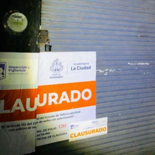 6 negocios fueron clausurados en Guadalajara por incumplimiento de medidas sanitarias y por rebasar los decibeles permitidos