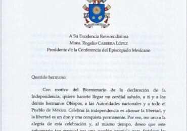 Carta del Papa Francisco al presidente del Episcopado Mexicano con motivo del Bicentenario de  la declaración de independencia mexicana